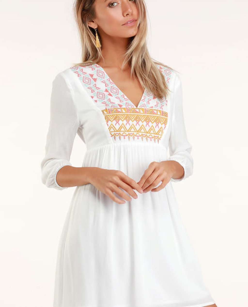 Sunflower White Embroidered Babydoll Dress