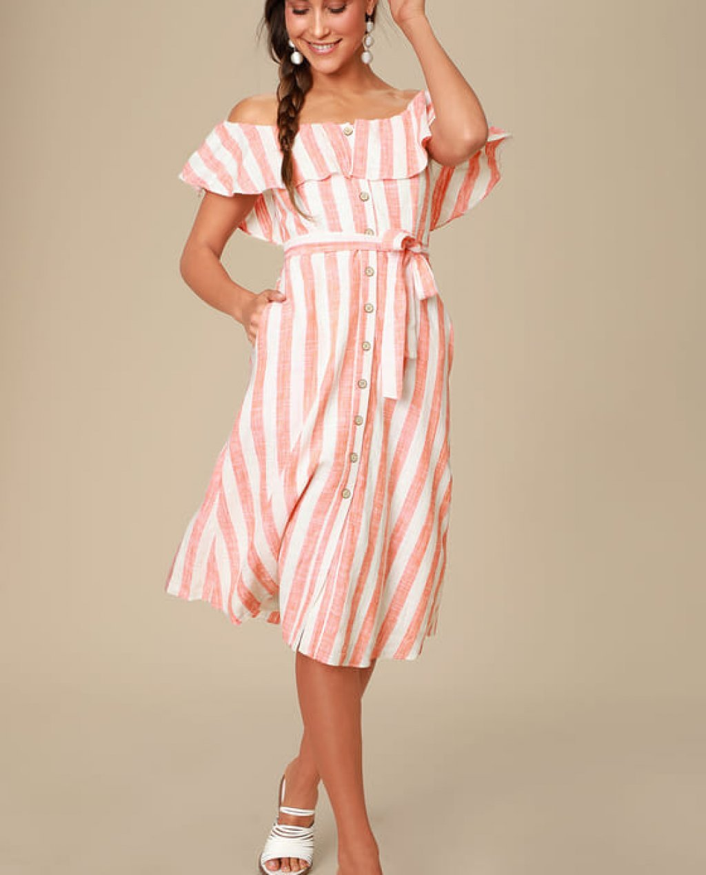 Sunny Days Orange Striped Off-the-Shoulder Midi Dress