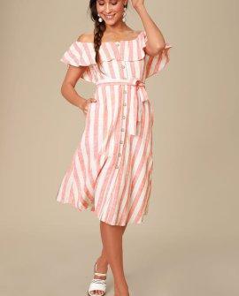 Sunny Days Orange Striped Off-the-Shoulder Midi Dress