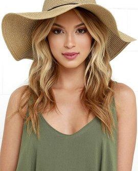 Sunny Street Tan Floppy Straw Hat
