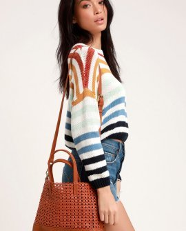 Sunset Stories Brown Woven Tote Bag