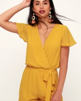 Sunshine State Of Mind Mustard Yellow Short Sleeve Romper