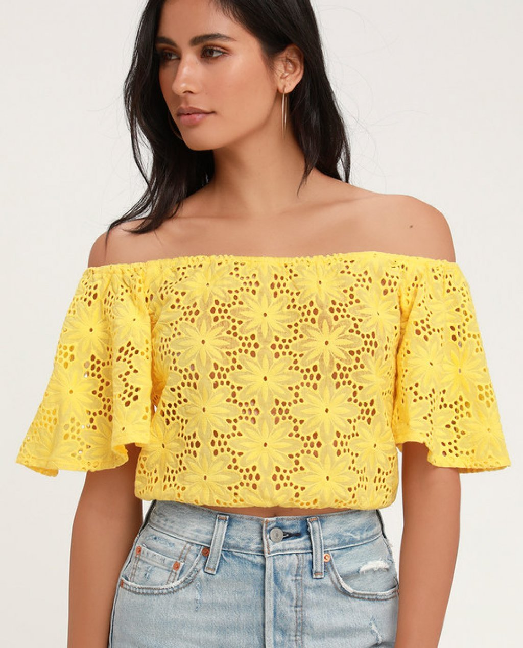 Sunshine Yellow Eyelet Off-the-Shoulder Crop Top