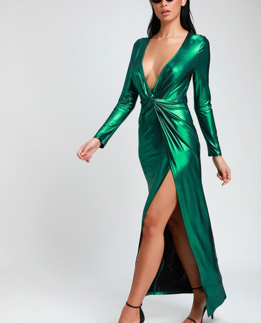 Supernova Girl Teal Green Twist-Front Long Sleeve Maxi Dress