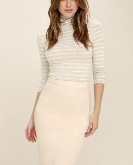 Superpower Light Beige Suede Pencil Skirt