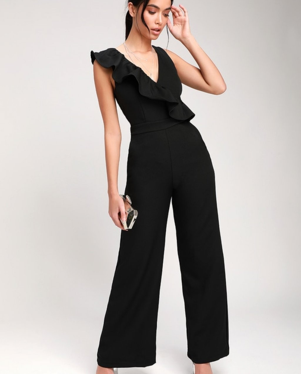 Sure to Be Seen Black Sleeveless Ruffled Jumpsuit