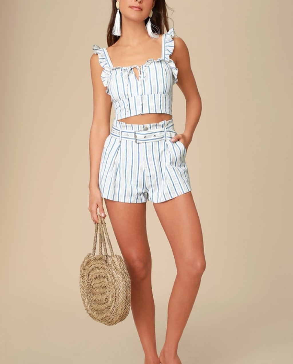 Surfs Up Blue and White Striped Belted Shorts