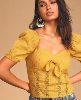 Sweet Like Me Mustard Yellow Lace Embroidered Puff Sleeve Top