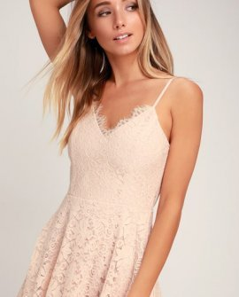 Sweet Like Sugar Blush Pink Lace Midi Skater Dress
