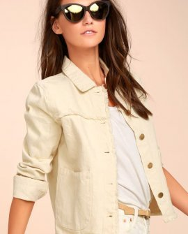 Sweet Shoreline Beige Denim Jacket