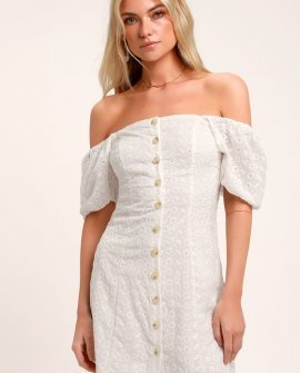 Sweet Sonata White Eyelet Button Front Puff Sleeve Dress