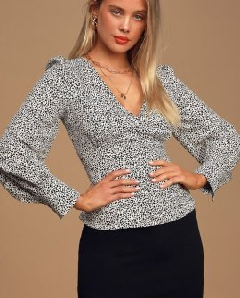 Sweet Spot White Cheetah Print Long Sleeve Button-Up Top