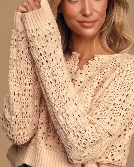 Sweet of the Moment Peach Loose Knit Sweater