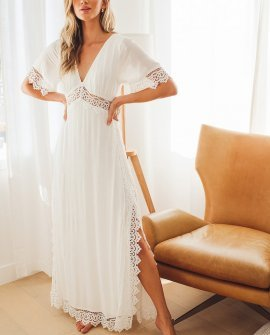 Sweeten the Occasion White Lace Short Sleeve Maxi Dress