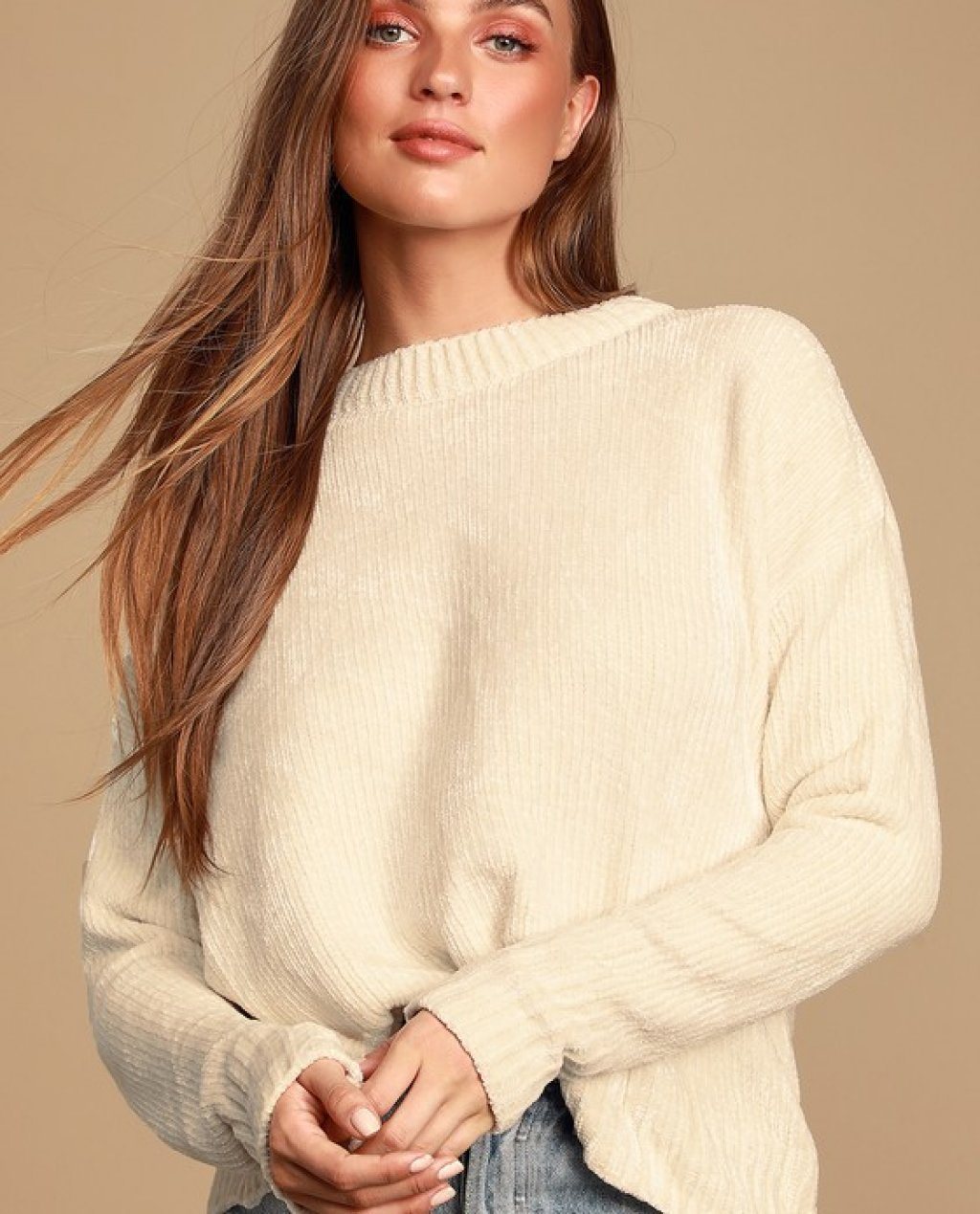 Sweeter Times Ivory Chenille Knit Sweater