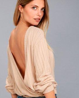 Sweetest Dreams Light Beige Backless Sweater Top