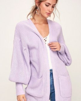 Sweetest Treat Lilac Balloon Sleeve Cardigan Sweater