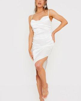 Syd & Ell White Animal Jacquard Side Split Cowl Maxi Dress