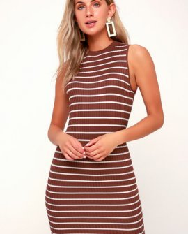 Syndicate Rust Brown Striped Ribbed Bodycon Midi Dress
