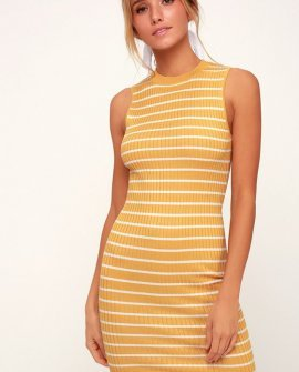 Syndicate Yellow Striped Ribbed Bodycon Midi Dress