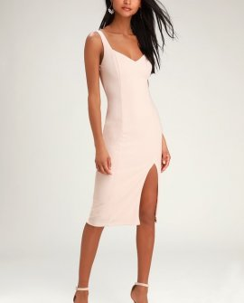 Take Me Out Tonight Blush Pink Midi Dress