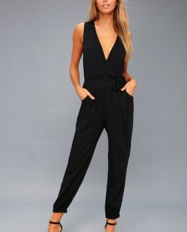Take On the Day Black Sleeveless Surplice Jumpsuit