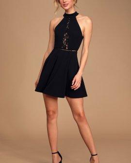 Take a Twirl Black Lace Backless Skater Dress