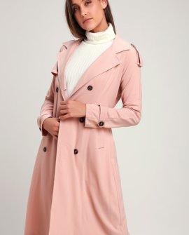 Take a Walk Blush Pink Trench Coat