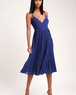 Take it From Me Royal Blue Pleated Wrap Midi Dress