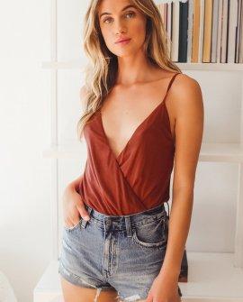 Take the Plunge Brick Red Surplice Sleeveless Bodysuit
