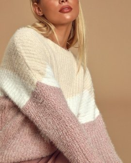 Talk the Block Cream Multi Color Block Eyelash Knit Sweater