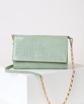 Talliah Mint Green Crocodile Embossed Wallet Clutch