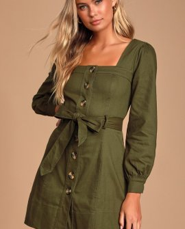 Tayah Olive Green Long Sleeve Button-Up Mini Dress