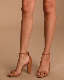 Taylor Naked Mocha Ankle Strap Heels