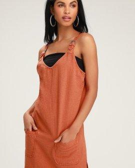 Teach That Rust Orange Linen Overall Dress