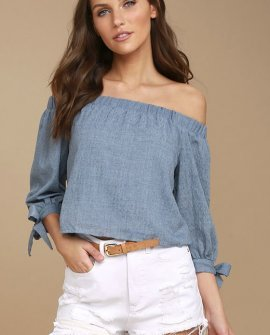 Tender Moments Denim Blue Off-the-Shoulder Crop Top