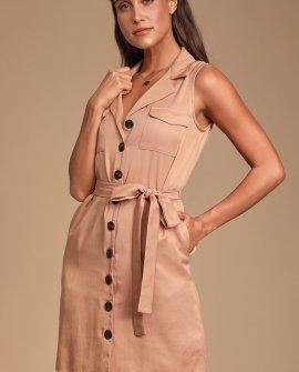 Tenino Blush Sleeveless Button-Up Shirt Dress