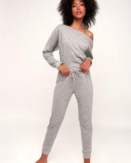 Terra Heather Grey Lace-Up Jogger Pants