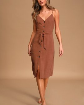Tessi Day Rust Red Button-Front Midi Dress