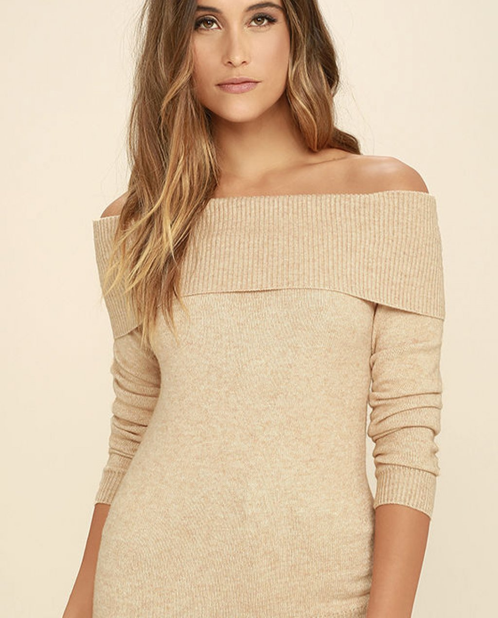 Thats What Friends Are For Beige Off-the-Shoulder Sweater