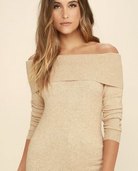 That's What Friends Are For Beige Off-the-Shoulder Sweater