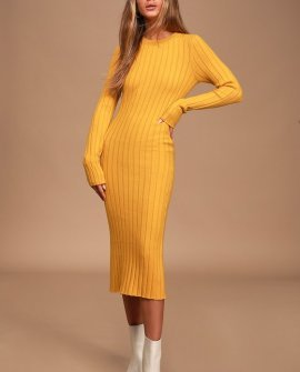 The Best Yet Mustard Yellow Ribbed Bodycon Sweater Dress