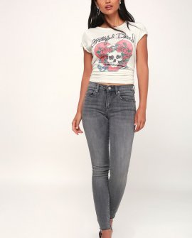 The Bond Grey Raw Hem Skinny Jeans