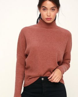 The Mock Neck Rusty Rose Thermal Long Sleeve Top