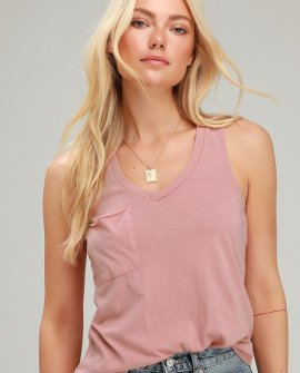 The Pocket Racer Dusty Rose Sleeveless V-neck Tank Top