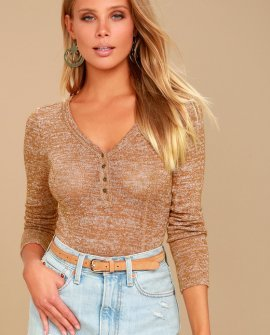 The Rogue Heather Tan Long Sleeve Knit Bodysuit