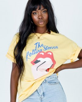 The Rolling Stones Pink Tongue 81 Yellow Tee