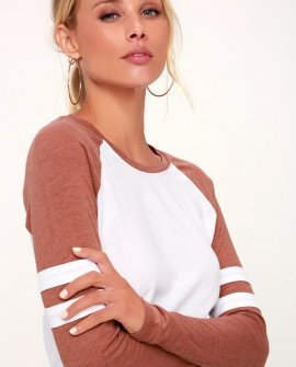 The Varsity White and Terra Cotta Baseball Tee