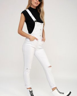 The World is Yours White Distressed Denim Overalls