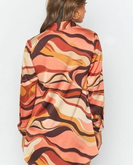 The Wavy Long Sleeve Shirt Dress Pink